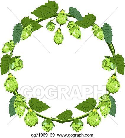 Eps vector of in. Hops clipart wreath