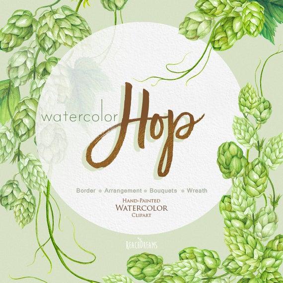 Hops clipart wreath. Watercolor hop bouquet arrangement