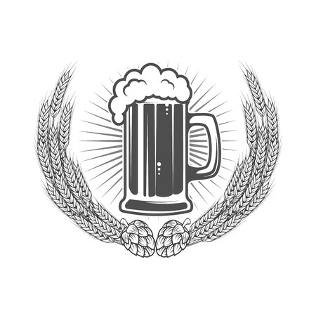 Hops clipart wreath. Beer label template mug