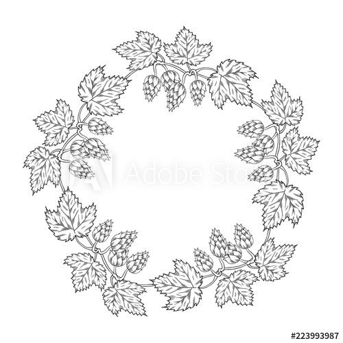Hand drawn round vintage. Hops clipart wreath