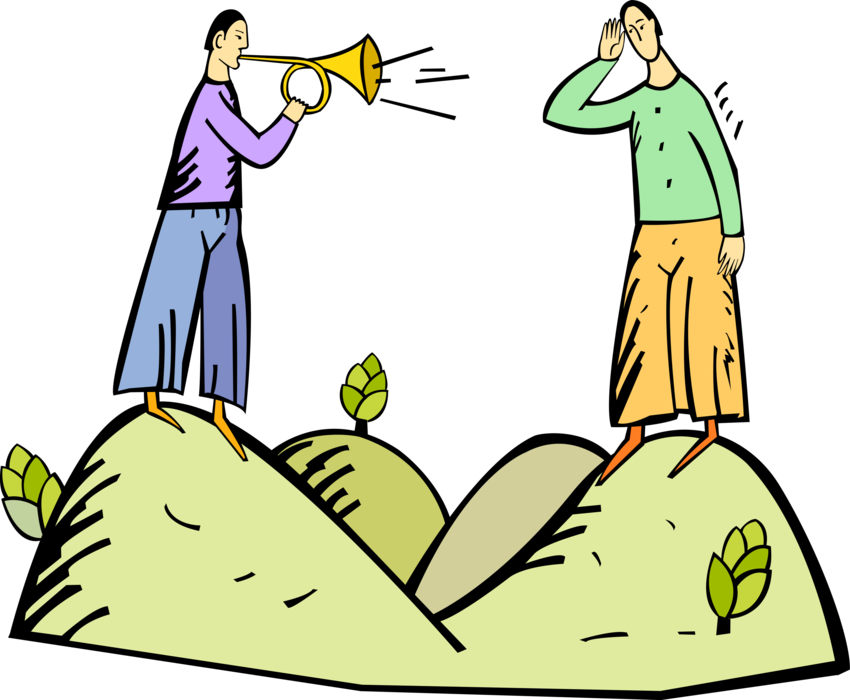 Trumpet vector image illustration. Horn clipart announcement