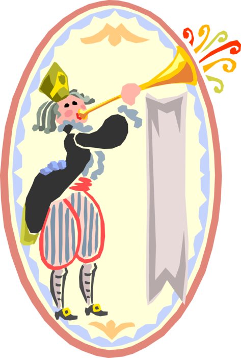 Horn clipart announcement. Medieval page boy with