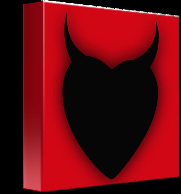Heart series love black. Horn clipart blue devil