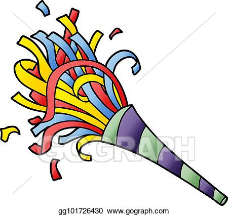 Horn clipart cartoon. Vector party illustration
