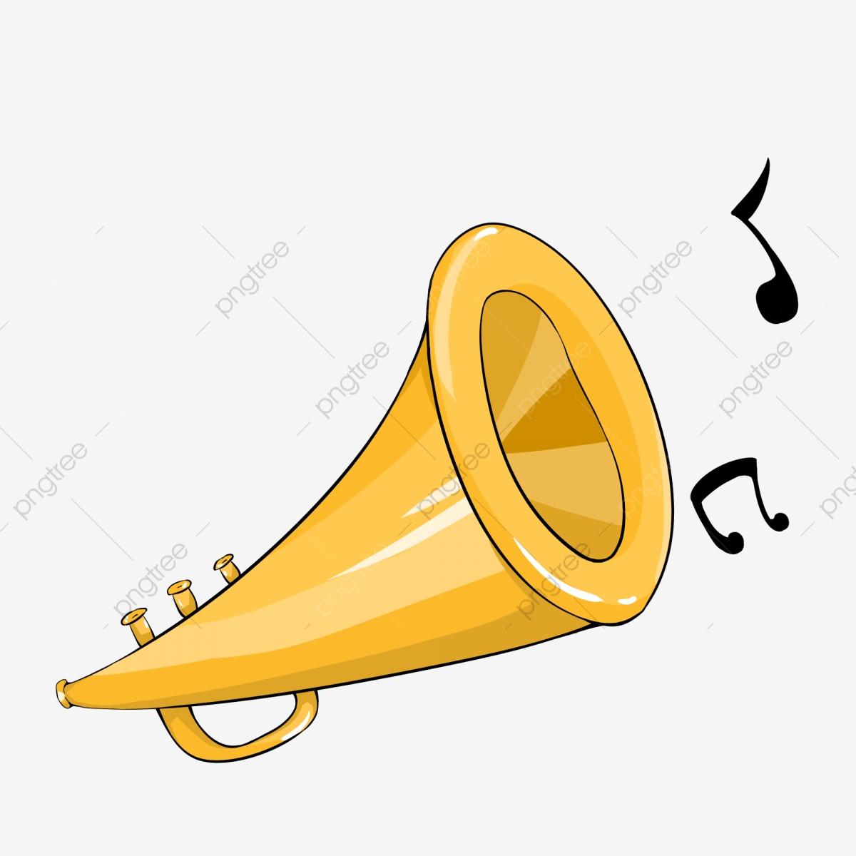 shouting golden trumpet. Horn clipart cartoon
