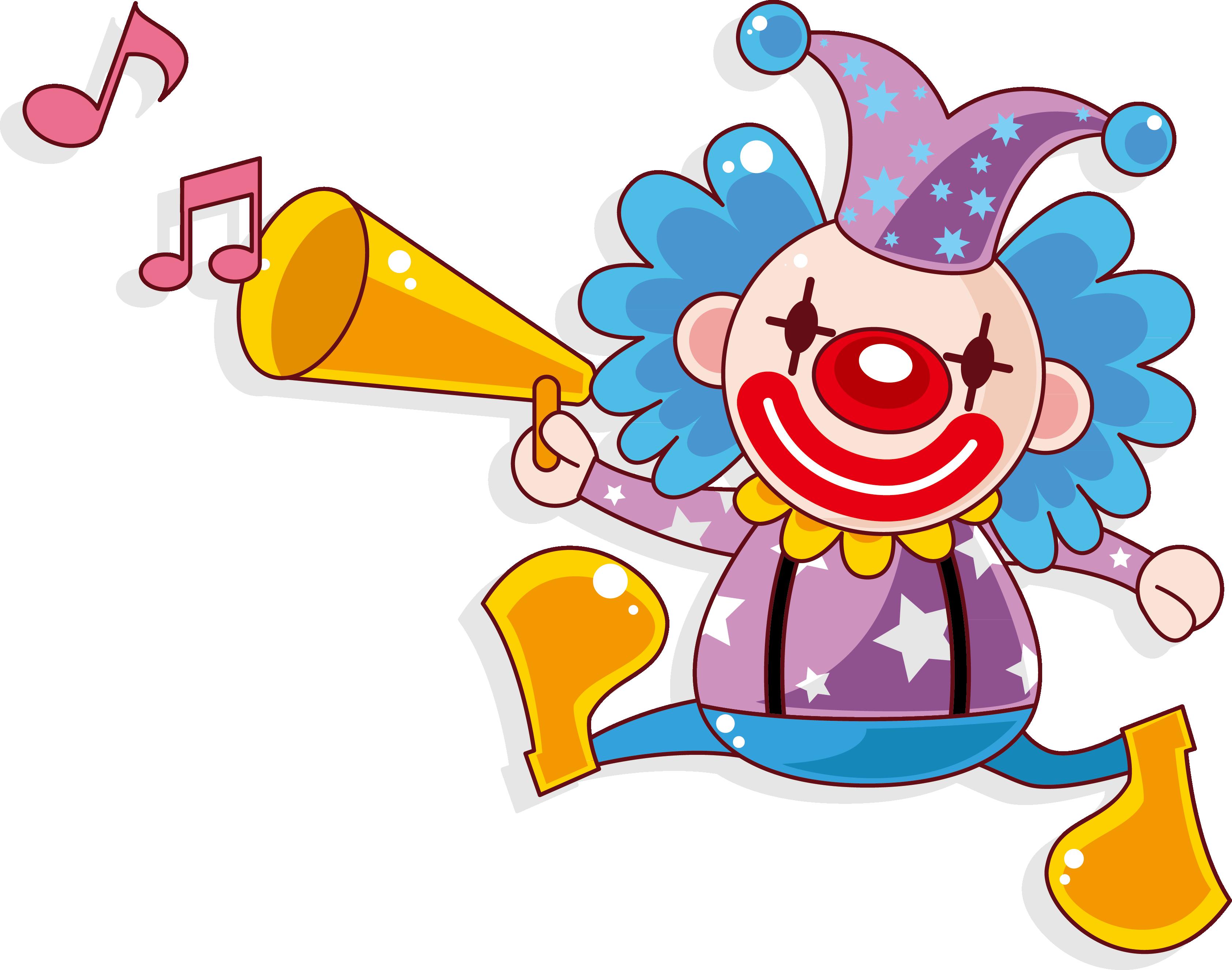 Horn clipart clown horn. Circus cartoon acrobatic performance