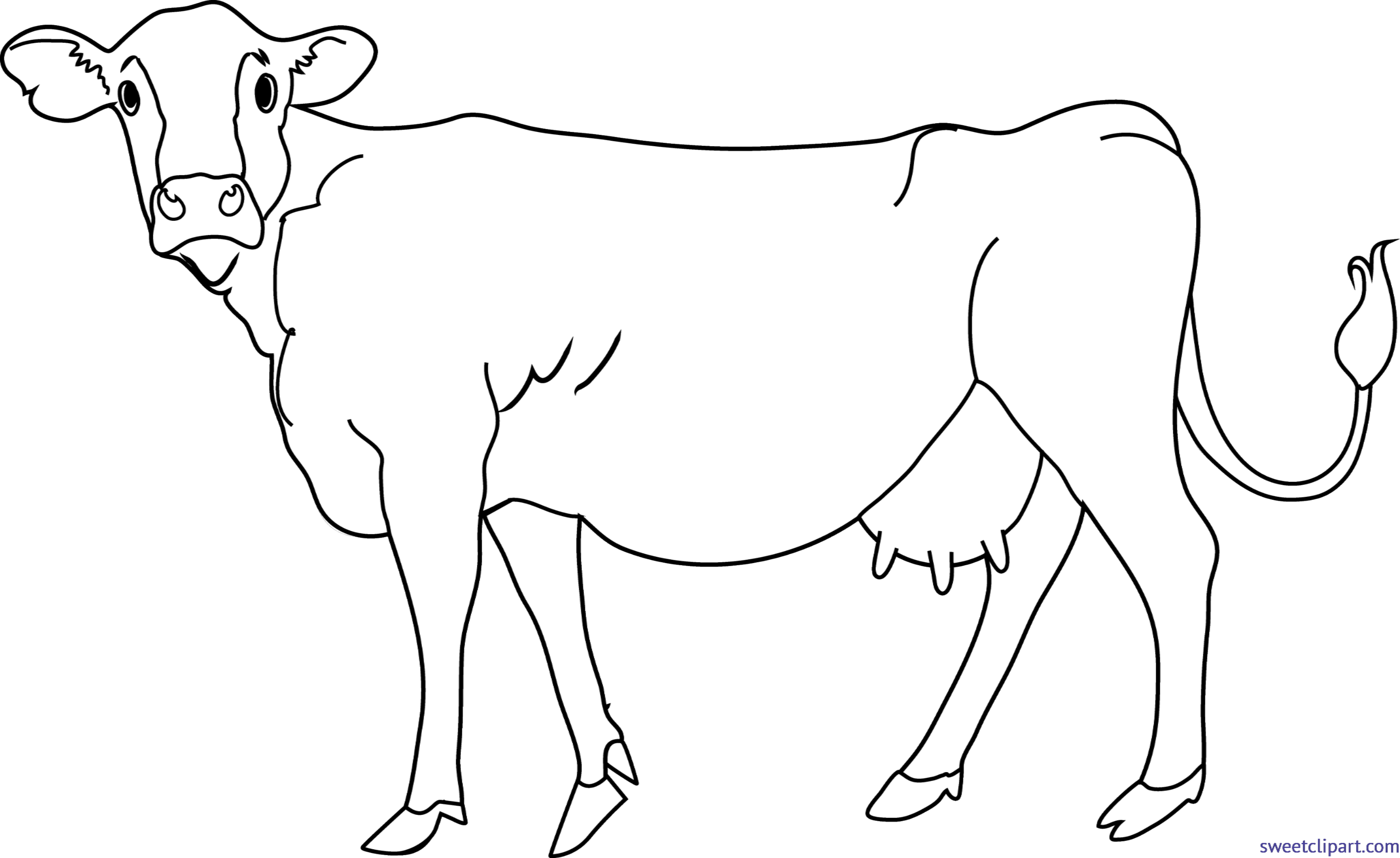 Cow lineart clip art. Horn clipart cow's