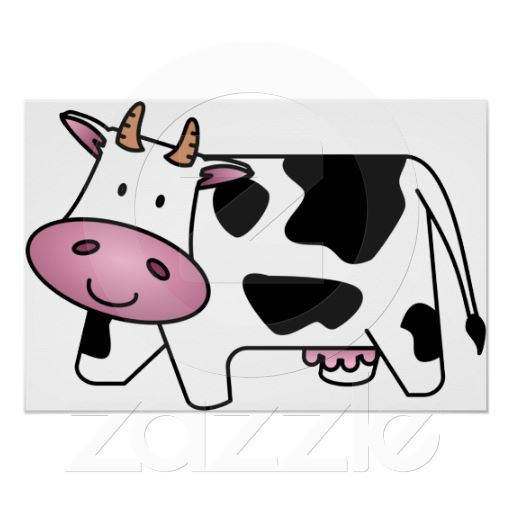 Happy cow poster zazzle. Horn clipart cow's
