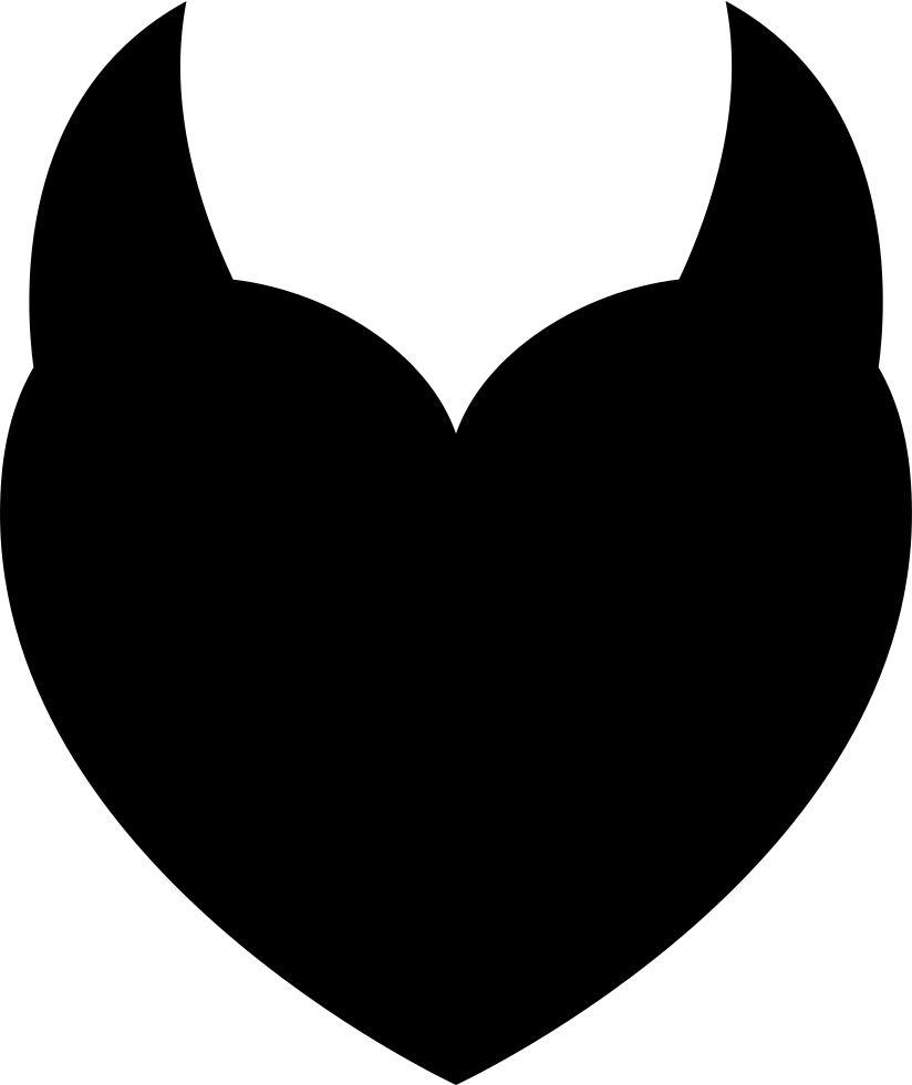 Devil heart with two. Horn clipart devel