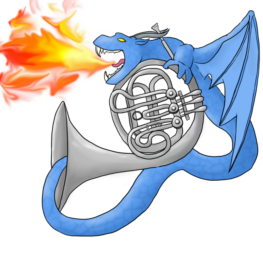 Horn clipart dragon. French by emprylshadow on
