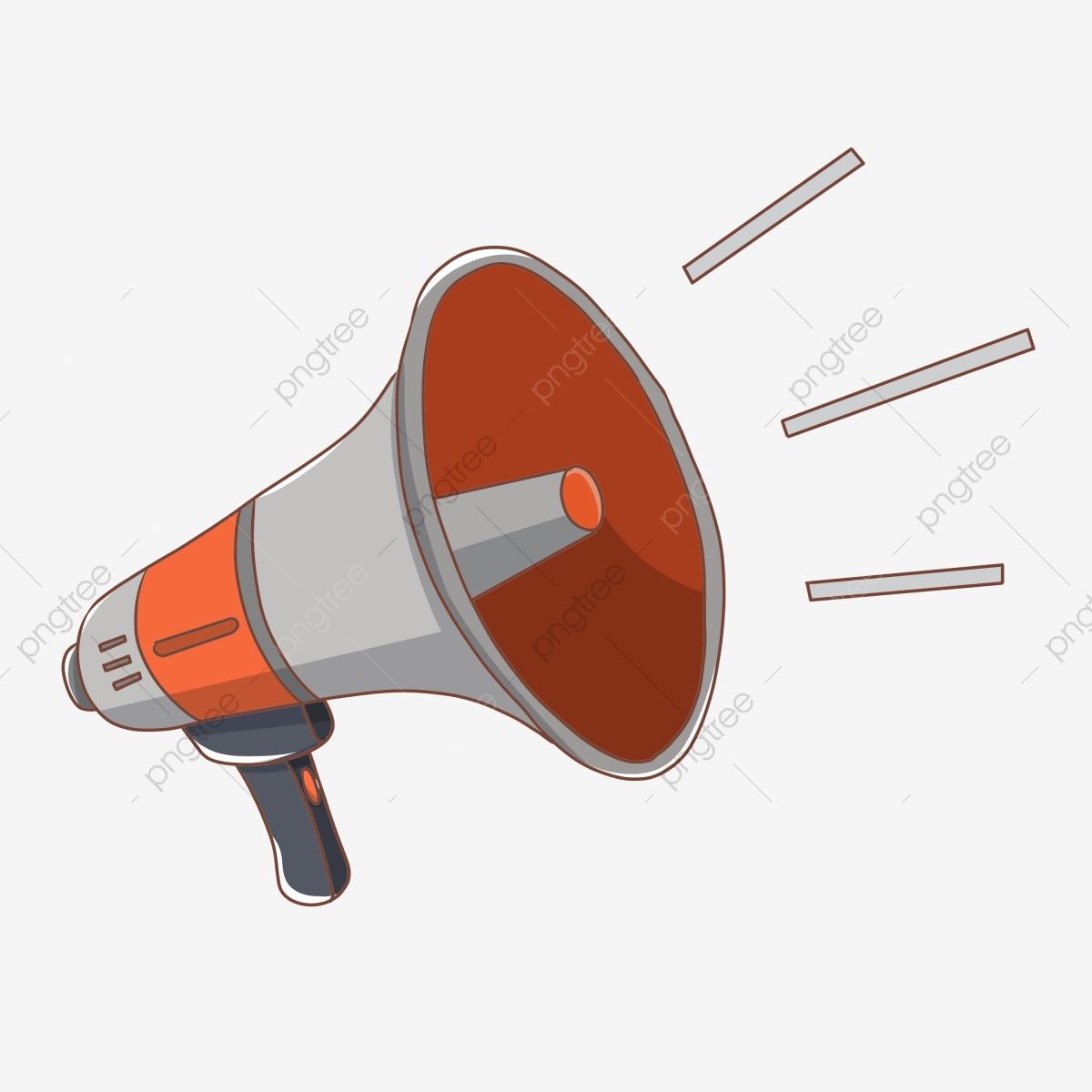Horn clipart hand speaker. Drawn shout cartoon little