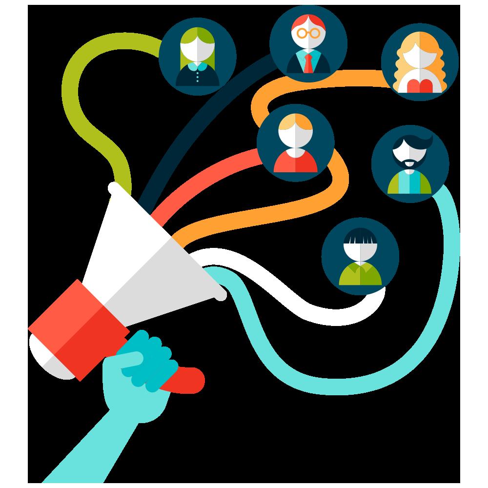 Social media marketing entrepreneurship. Horn clipart hand speaker