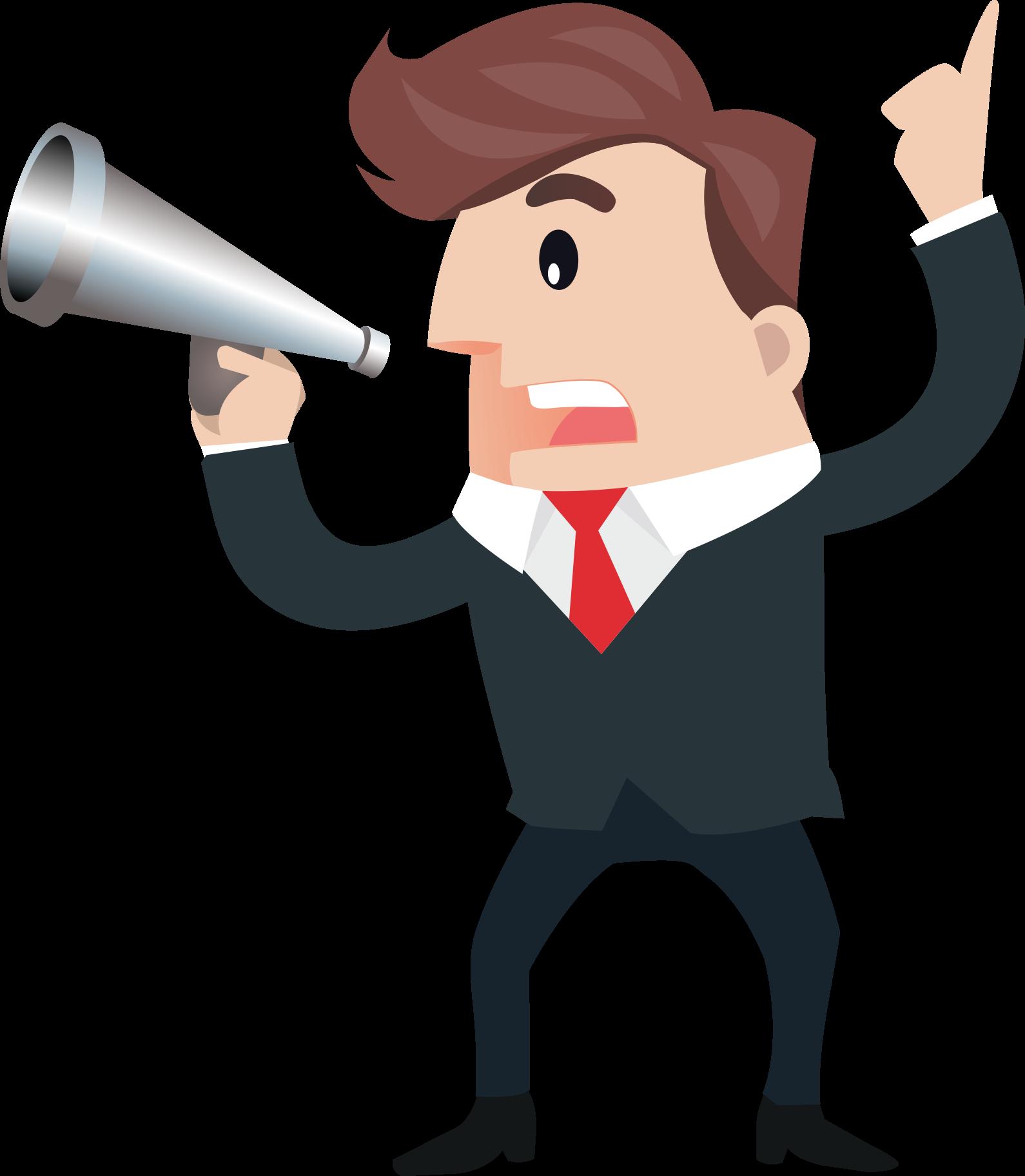 Cartoon microphone business man. Horn clipart hand speaker