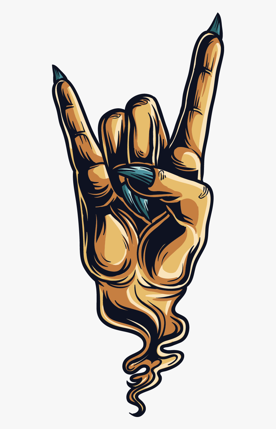 Horn clipart hand. Sign of the horns