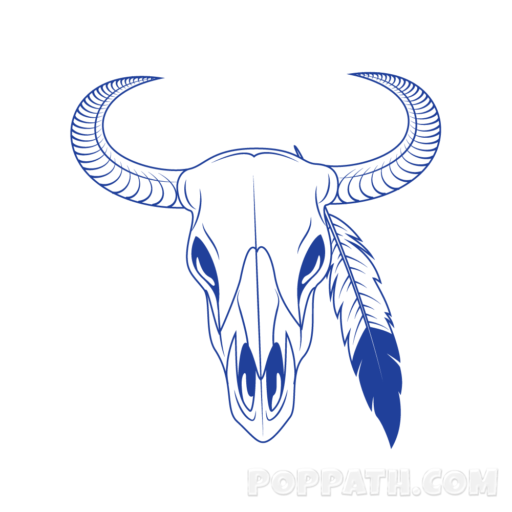 How to draw a. Longhorn clipart animal skull