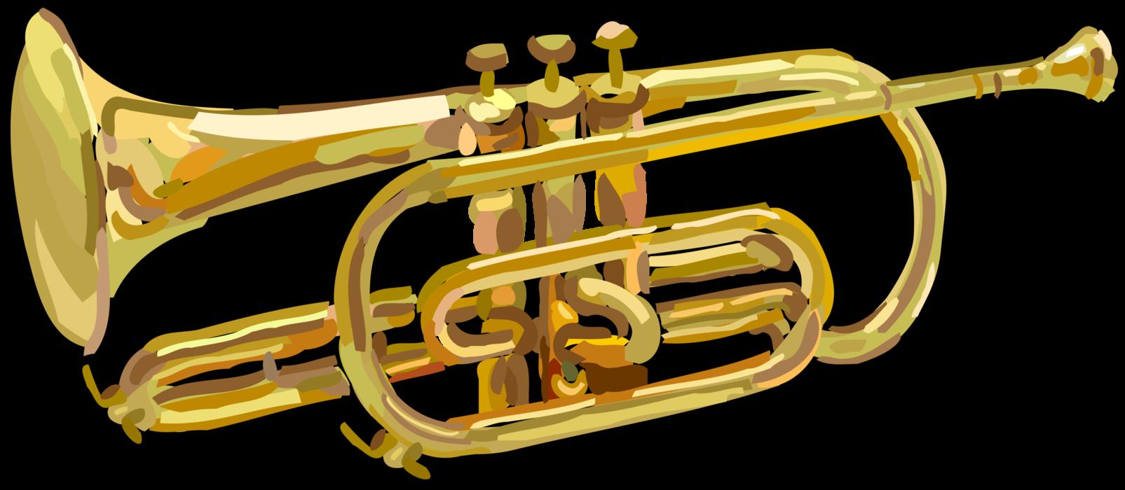 Trumpet instrument vector image. Horn clipart musical intrument