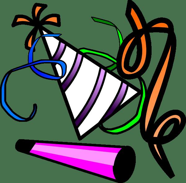 Hat new year clip. Horn clipart noisemaker