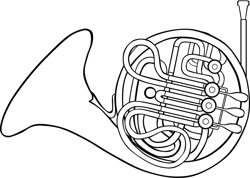 French medium image png. Horn clipart outline