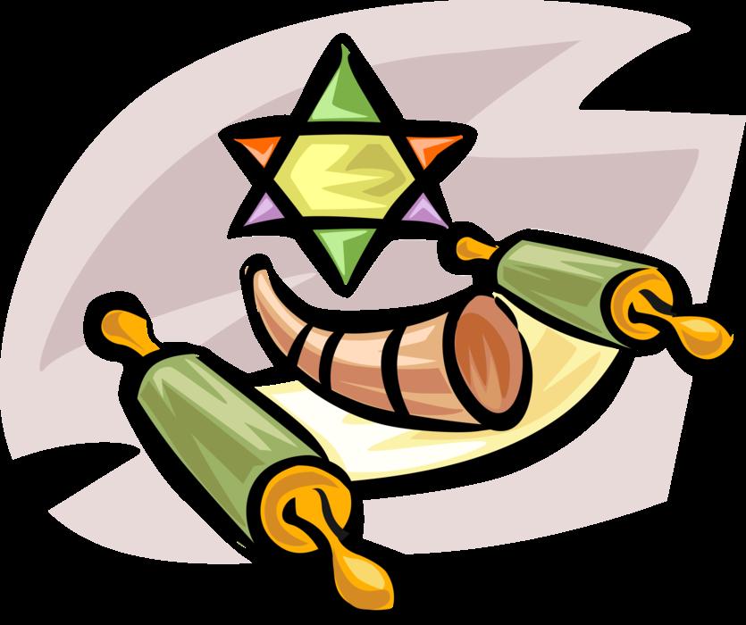 Hebrew sefer torah with. Horn clipart shofar