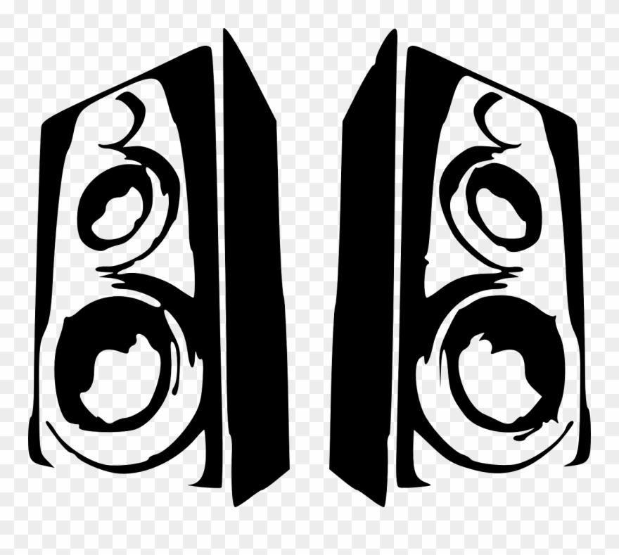 Speakers black and white. Horn clipart speaker phone