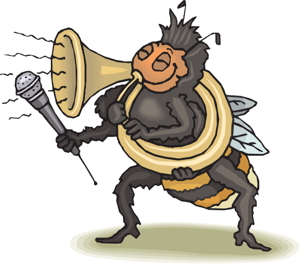 Horn clipart svg. Bee playing clip art