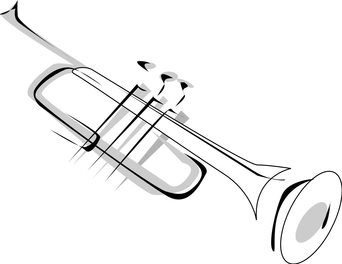 Simple trumpet tattoo design. Jazz clipart cornet