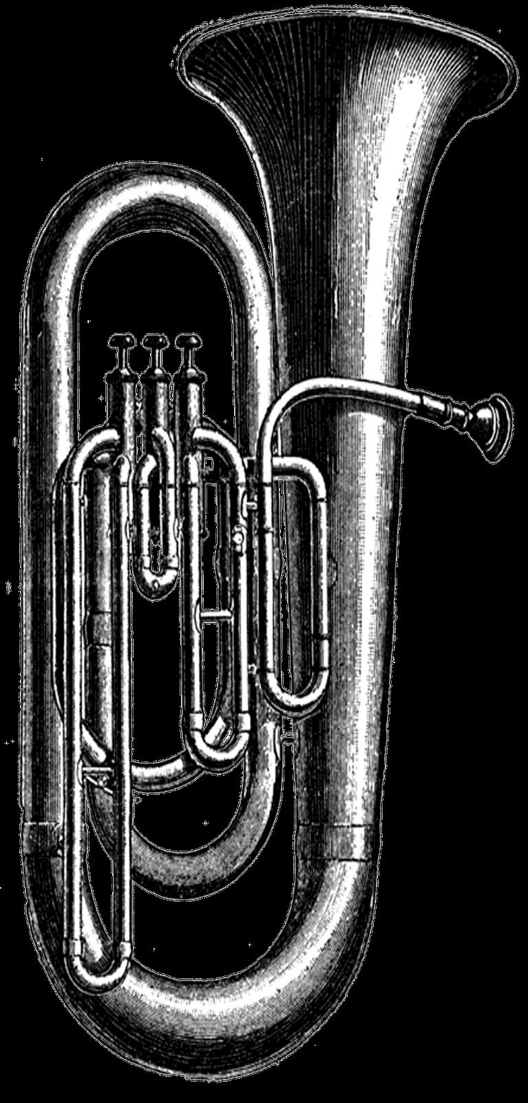 Instruments clipart tuba. Vintage png buscar con
