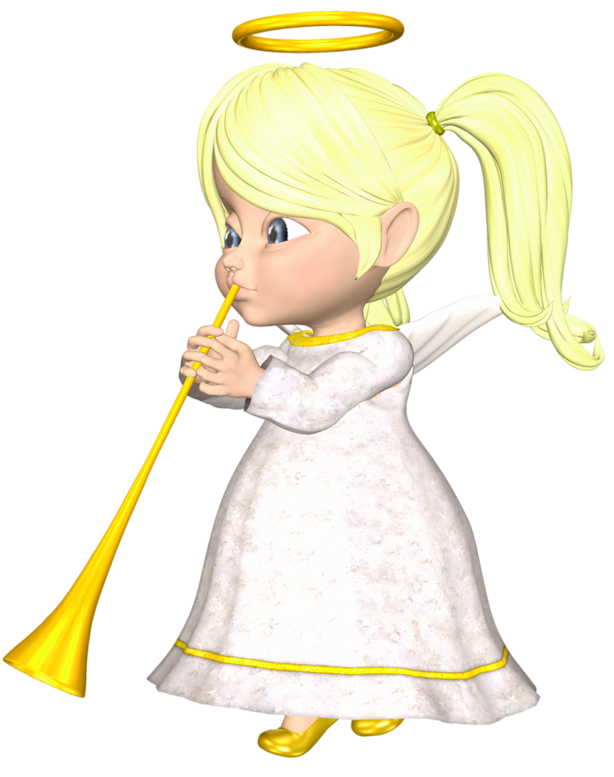 Cute blonde angel with. Horn clipart yellow