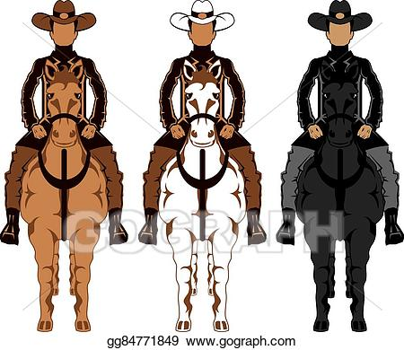 Horse clipart front. Eps illustration cowboy vector
