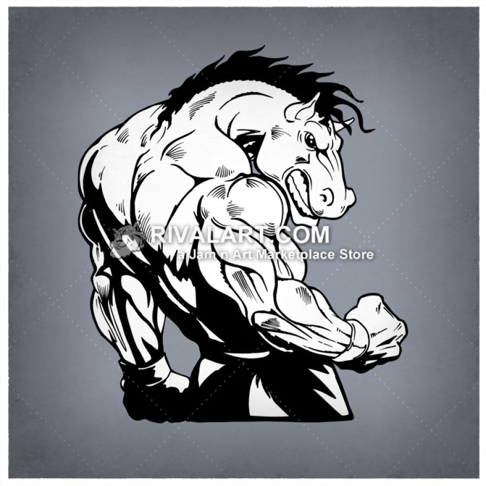 Horses clipart muscular. Horse flexing his bicep