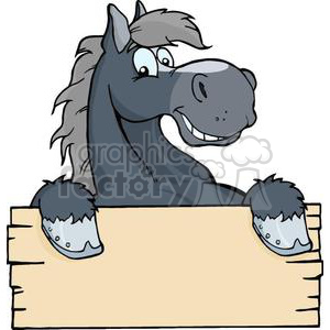 happy cartoon with. Horse clipart sign