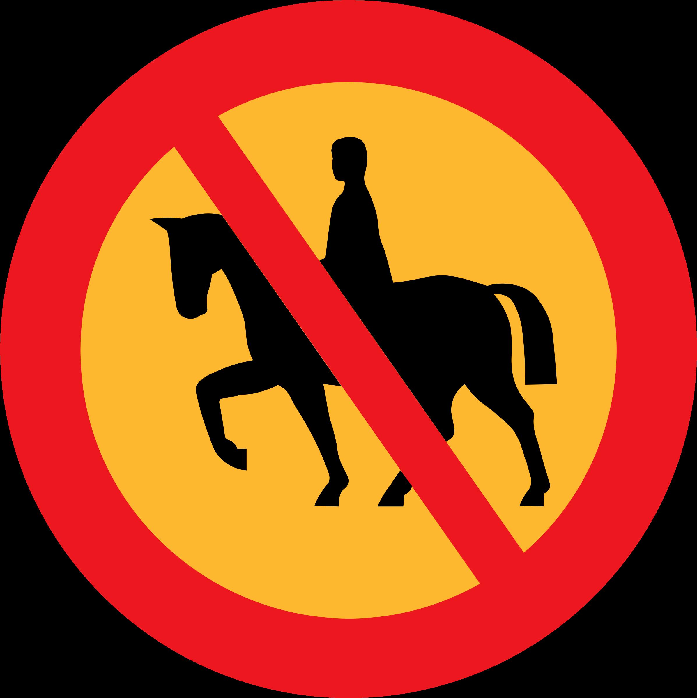 No riding big image. Horse clipart sign