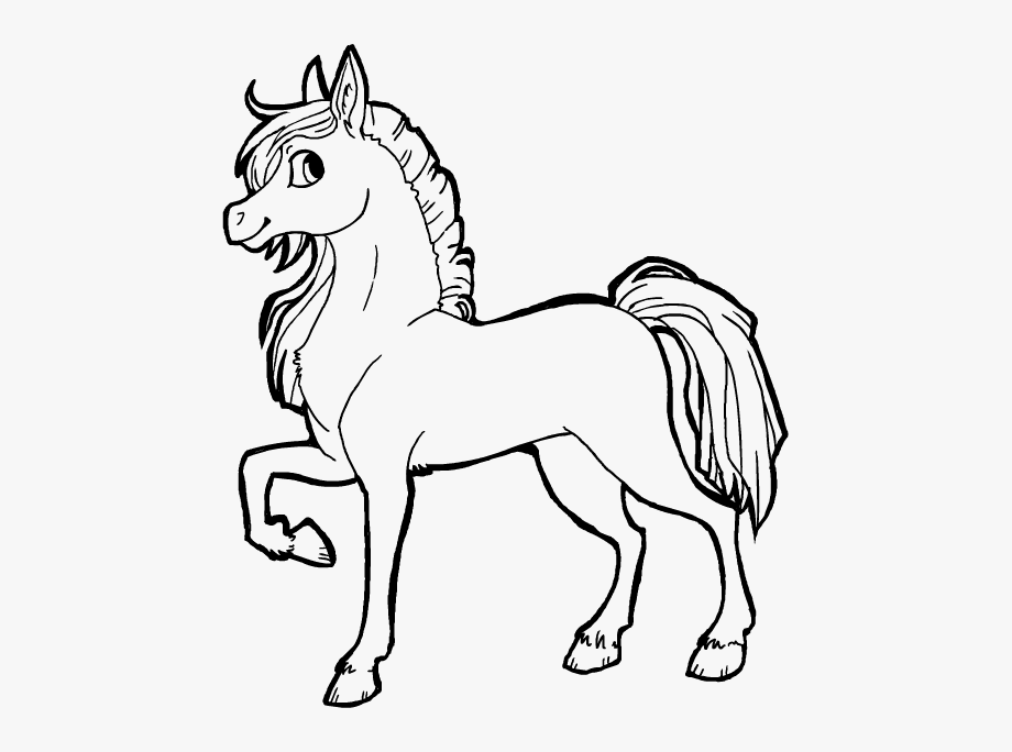 Line cute drawing free. Horses clipart pretty horse