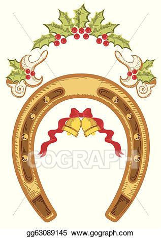 Vector illustration with holly. Horseshoe clipart christmas