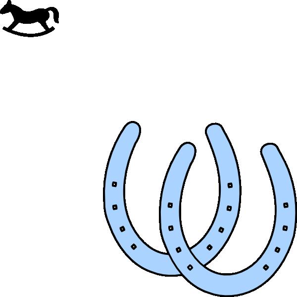 Rocking horse and horeshoes. Horseshoe clipart double horseshoe