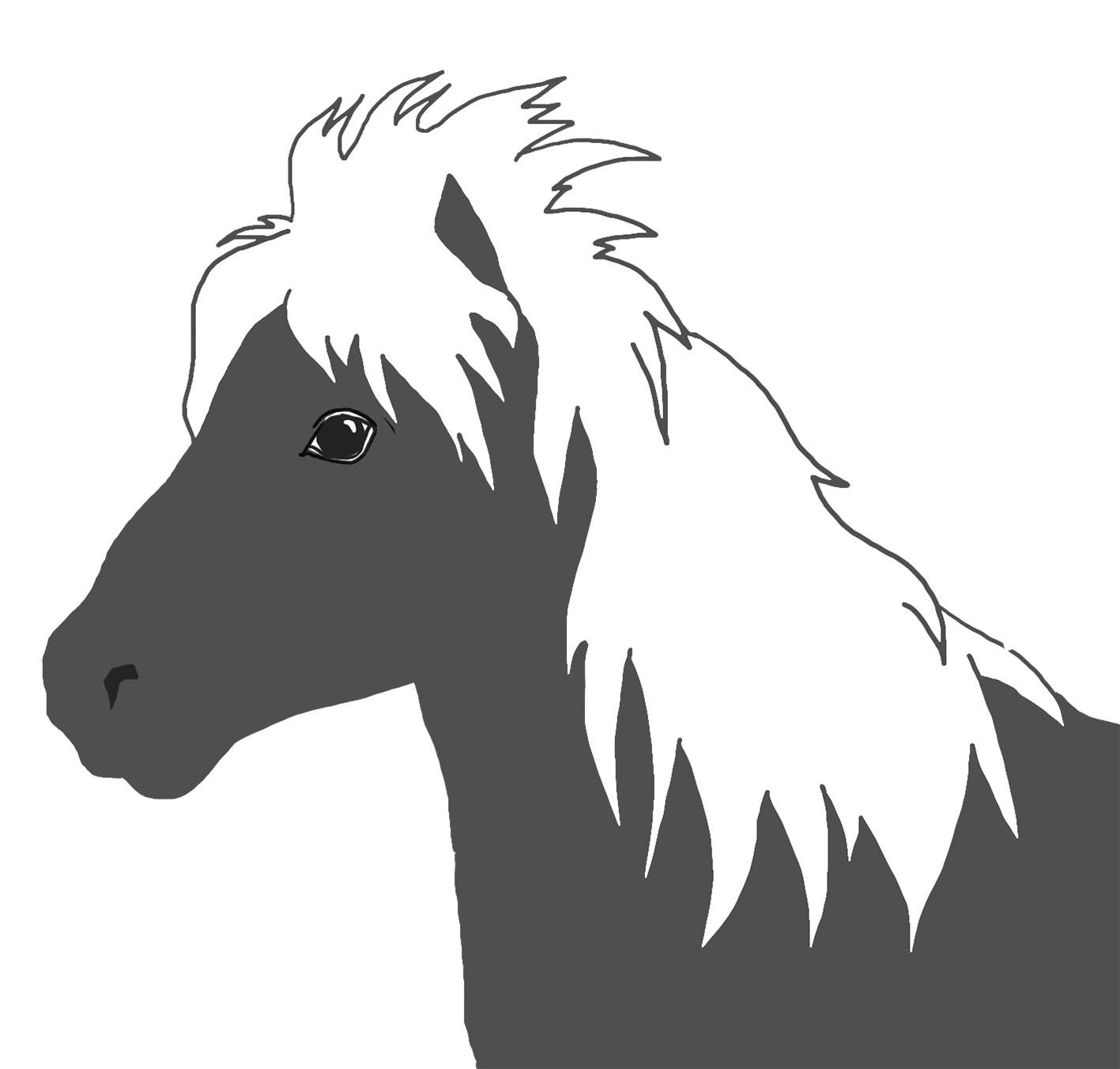 Horseshoe clipart horse camp. Silhouette white mane png