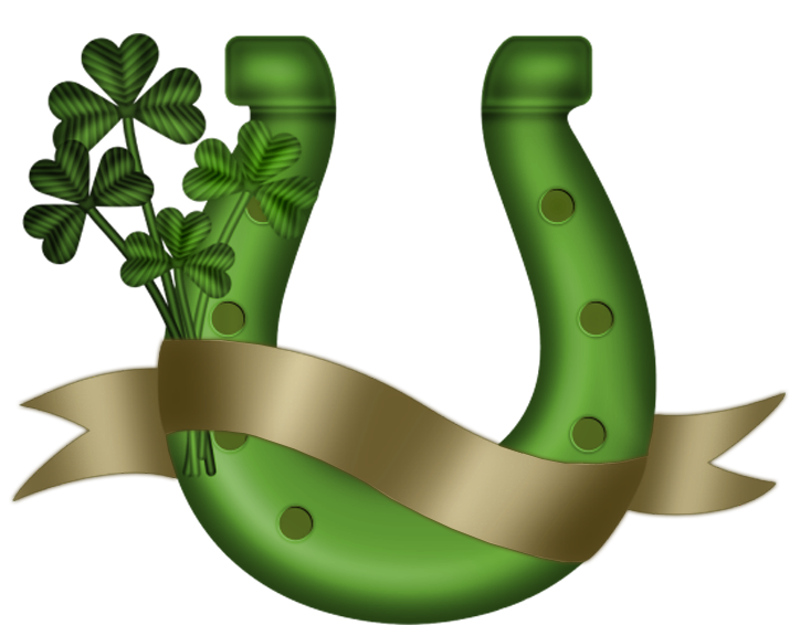 St patrick green png. Horseshoe clipart luck