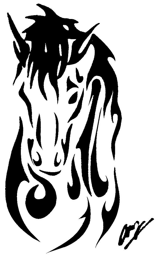 Free cartoon horse shoe. Horseshoe clipart tribal
