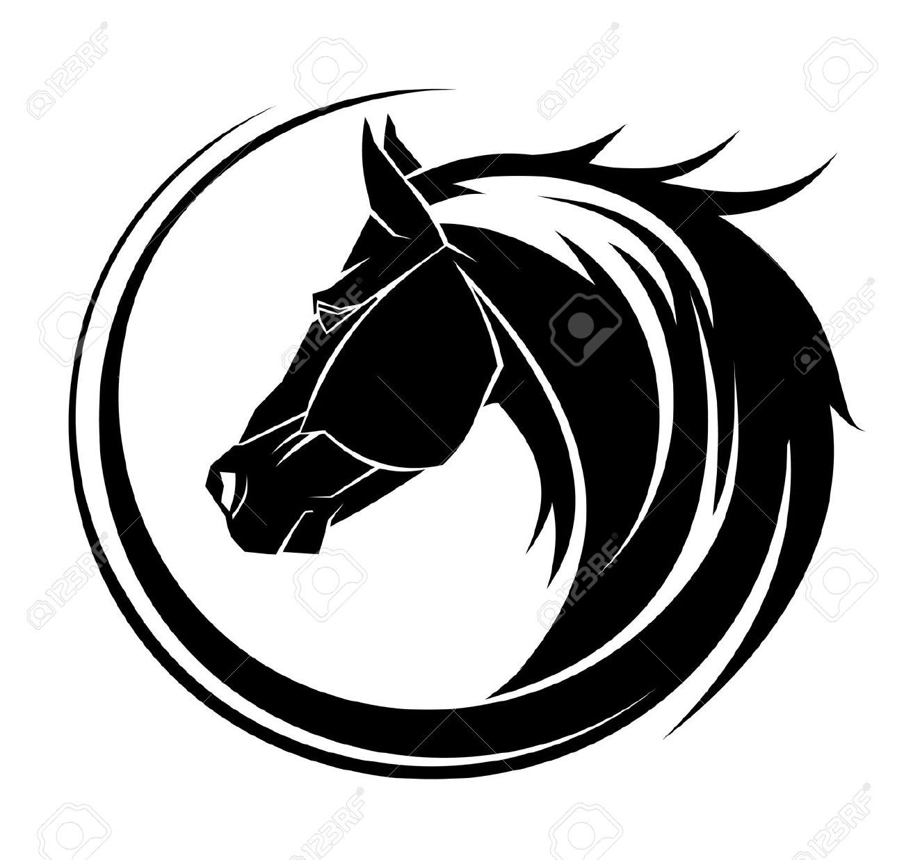 Stock vector tattoo inspiration. Horseshoe clipart tribal