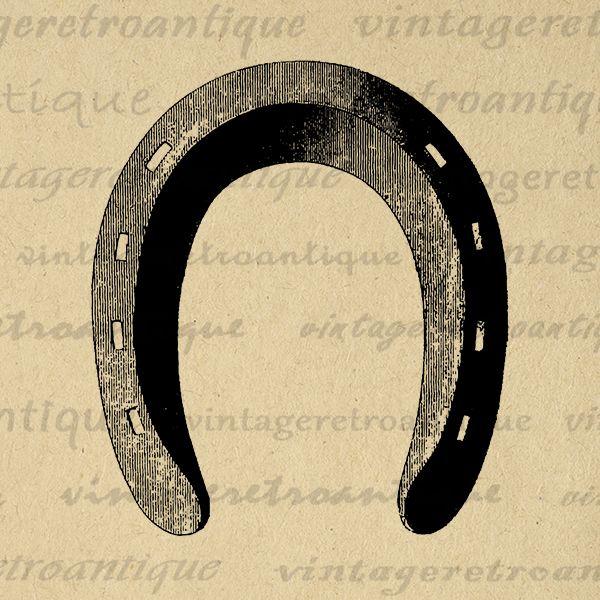 Printable digital graphic horse. Horseshoe clipart vintage