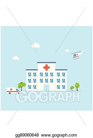 Vector illustration building with. Hospital clipart city hospital