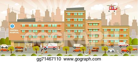 Vector art eps gg. Hospital clipart city hospital