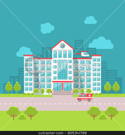 Hospital clipart city hospital. Building with ambulance in