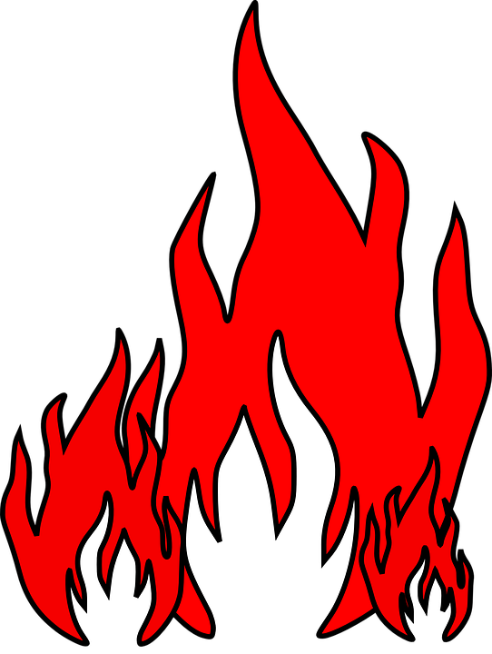 Bonfire red pencil and. Hot clipart flame