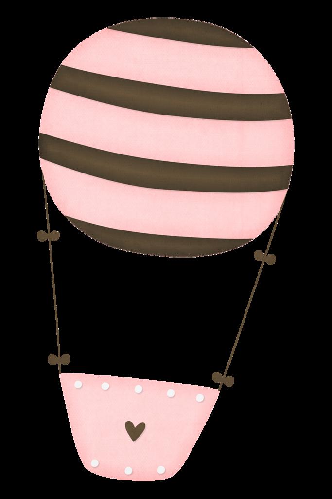 Air balloon pink brown. Hot clipart tener