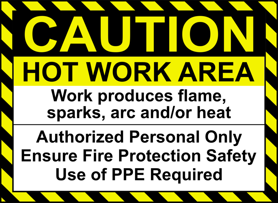 Yellow background safety text. Welding clipart hot work