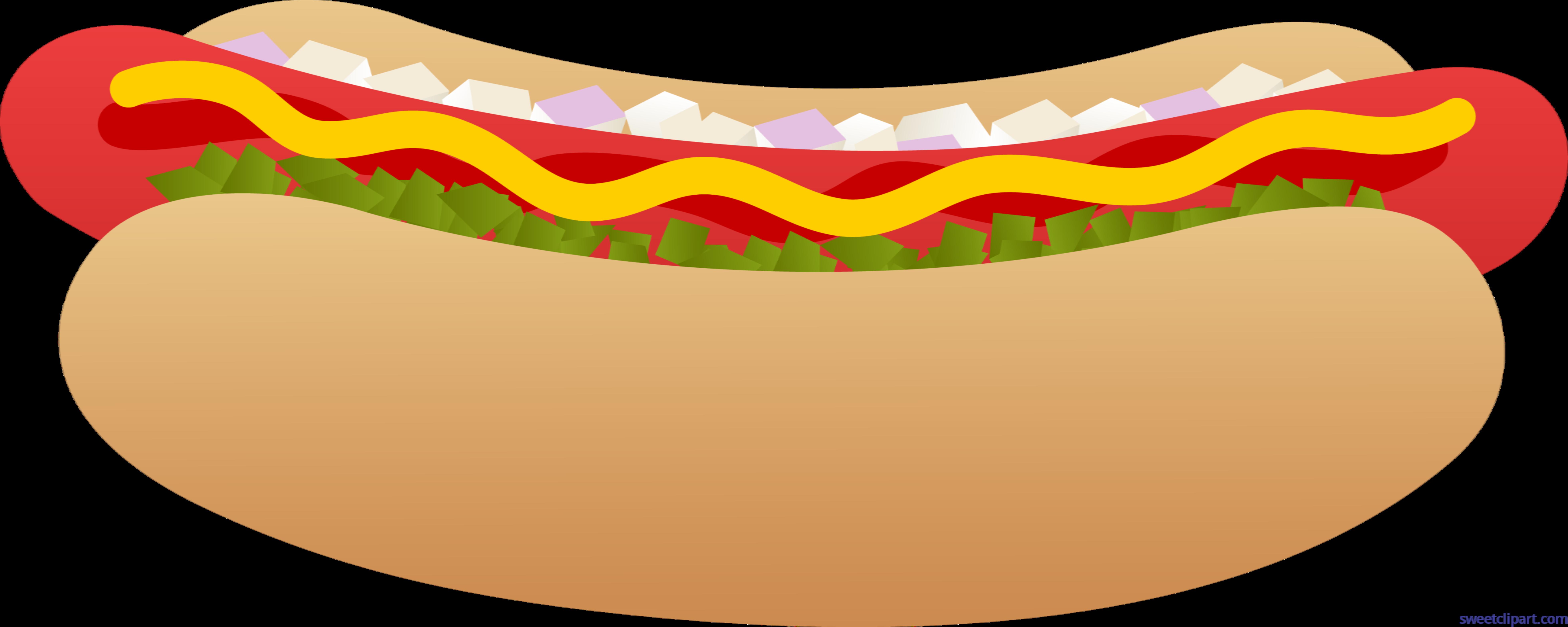 Hot dog on bun. Hotdog clipart