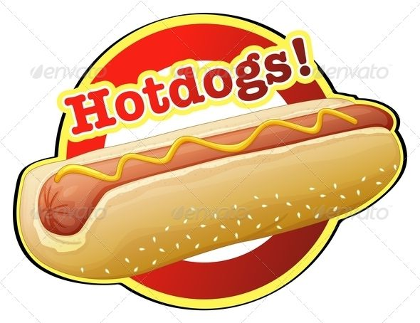 A label stained glass. Hotdog clipart american food