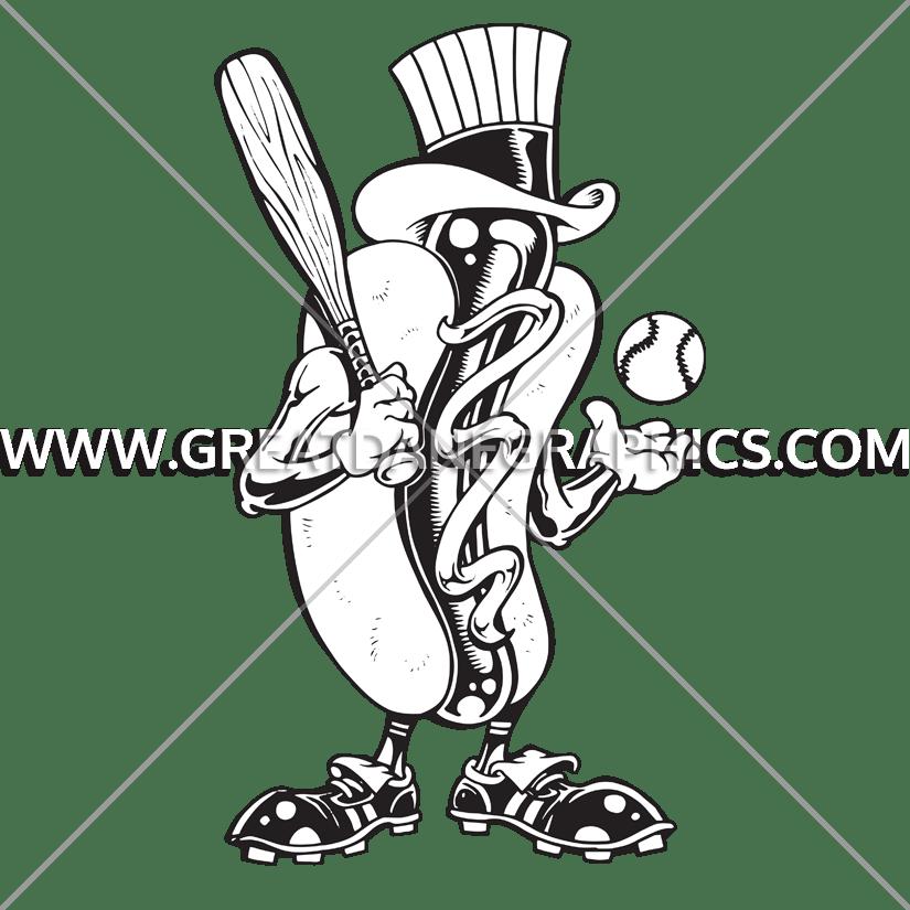 Production ready artwork for. Hotdog clipart baseball