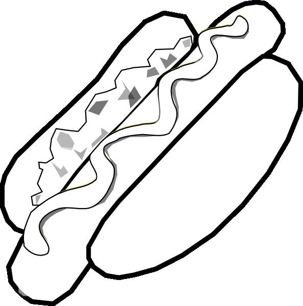 B w jumbo hot. Hotdog clipart black and white